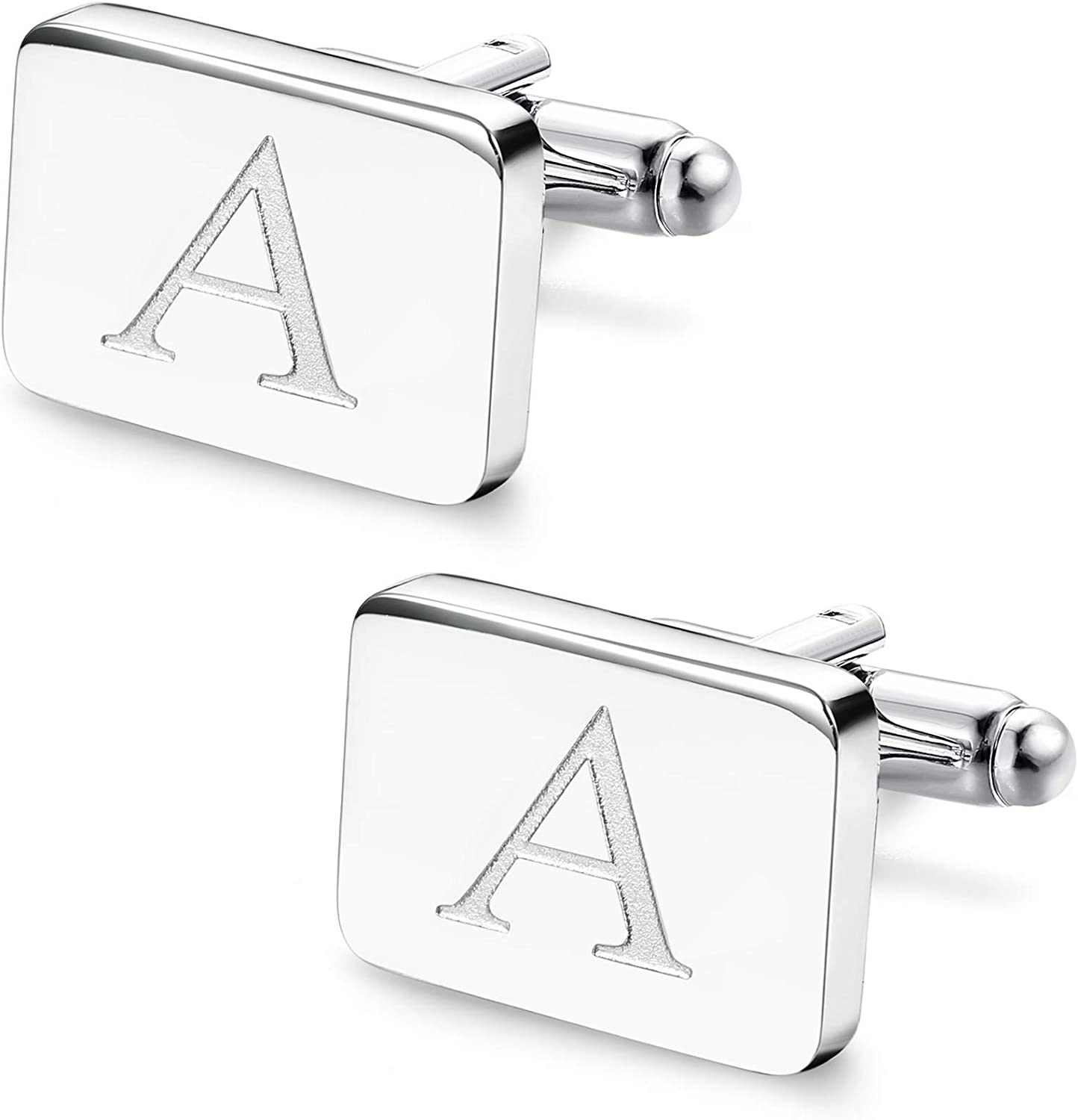 ORAZIO Initial Engraved Cufflinks for Men Women Stainless Steel Square Alphabet Letter A-Z Cufflinks