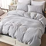 Largest King Size Down Comforter PURE ERA Cotton Jersey Knit Duvet Cover Set 1 Comforter Cover and 2 Pillow Shams Soft Comfortable White and Black Stripes Queen Size