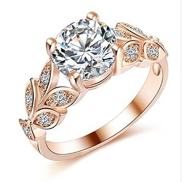 Lnlyin Rose Gold Weißer Diamant Hochzeit Ring Mode Silber