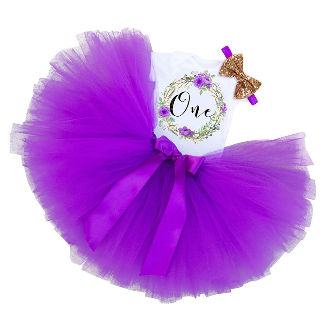 FUNOC 3PCs Baby Girls 1st Birthday Tutu Onesie Skirt Dress Headband Outfit