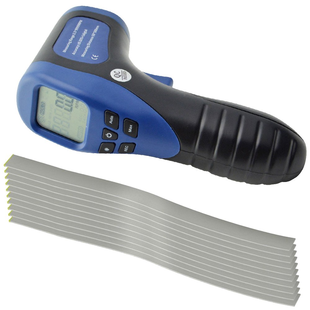 Ehdis Digital LCD Photo Tachometer Non-Contact RPM Meter Motor Speed Gauge Gun Style Includes 10 Reflective Tapes