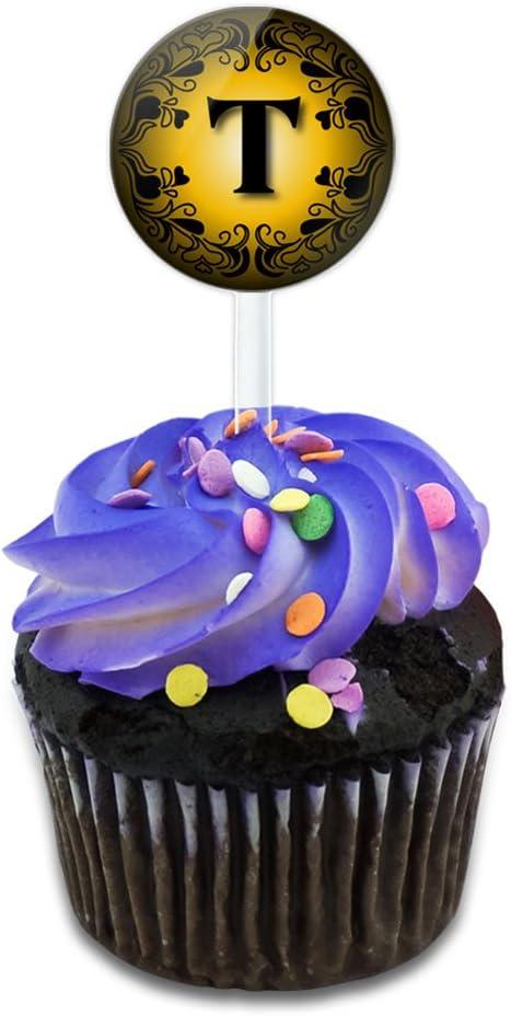 Elegante disfraz de letra T inicial oro negro para tartas Cupcake ...