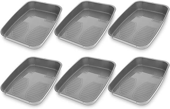 Navaris Set de 6 bandejas para Zapatos - Base para secar Zapatos de 32.7 x 23.6 x 6CM - Bandeja de Goteo escurridora - con Borde Elevado y apilables: Amazon.es: Hogar