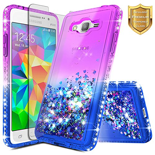 Galaxy Grand Prime Case, Galaxy J2 Prime/Go Prime w/[Tempered Glass Screen Protector], NageBee Glitter Liquid Quicksand Waterfall Floating Flowing Sparkle Shiny Diamond Girls Cute Case -Purple/Blue (Clear Glass Grande Waterfall)