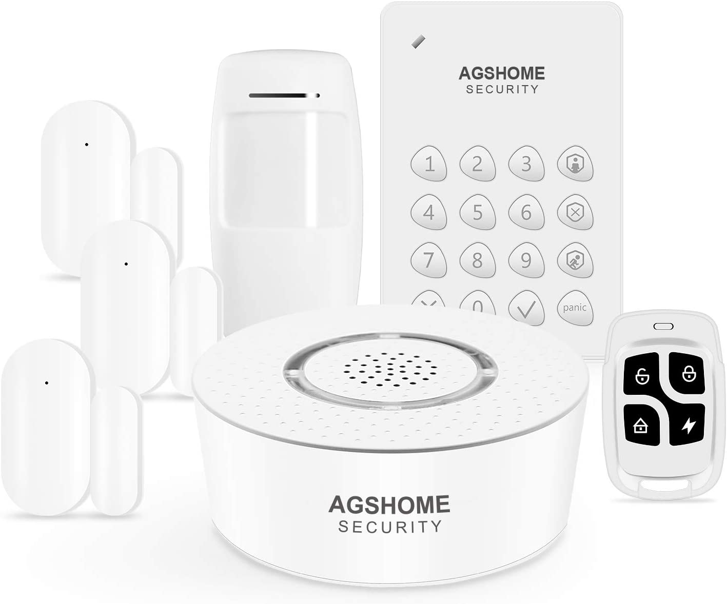 AGSHome Alarm, Wireless Smart Home Security System with Burglar and Phone APP Alert, 7-Piece kit (Siren, Keypad, Remote, Door Window & Motion Sensor), Work with Alexa, for House and Apartment