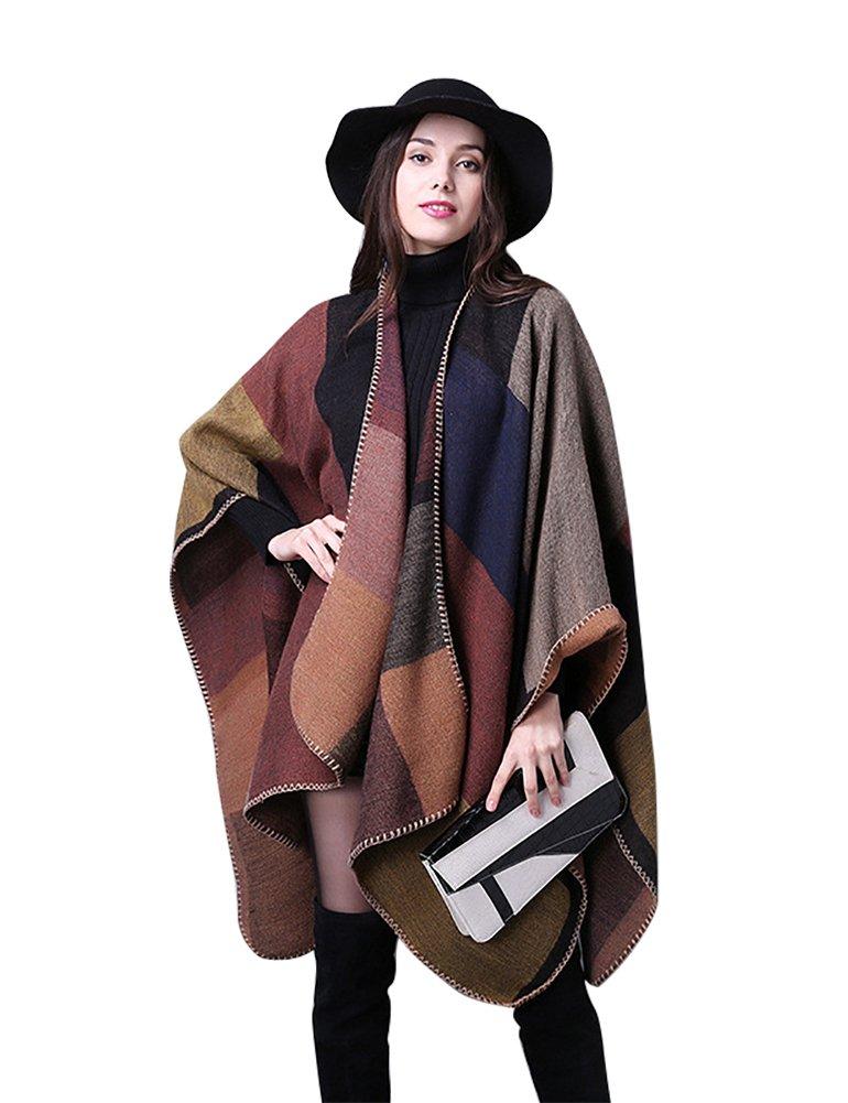IDEALSANXUN Women's Fall/Winter Oversized Poncho Cape Shawl Ruana Wrap Sweater Cardigan (Brown, One Size)