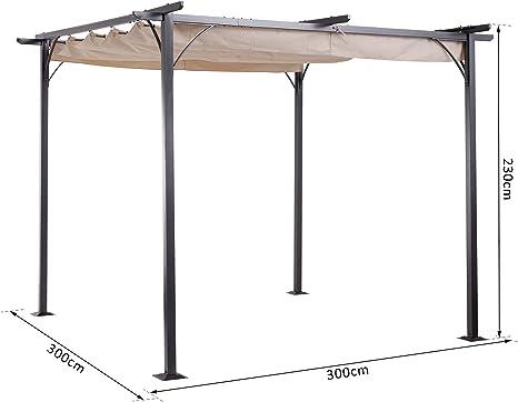 Outsunny Pérgola de Metal 3x3m Gazebo Cenador para Jardín Patio o Terraza con Techo Retráctil Tela Poliéster Resistente al Agua y UV: Amazon.es: Jardín