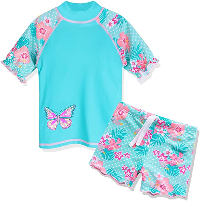 f4bead989714d Amazon.com  TFJH E Girls Two Piece Butterfly Dots Printed Swimsuit ...