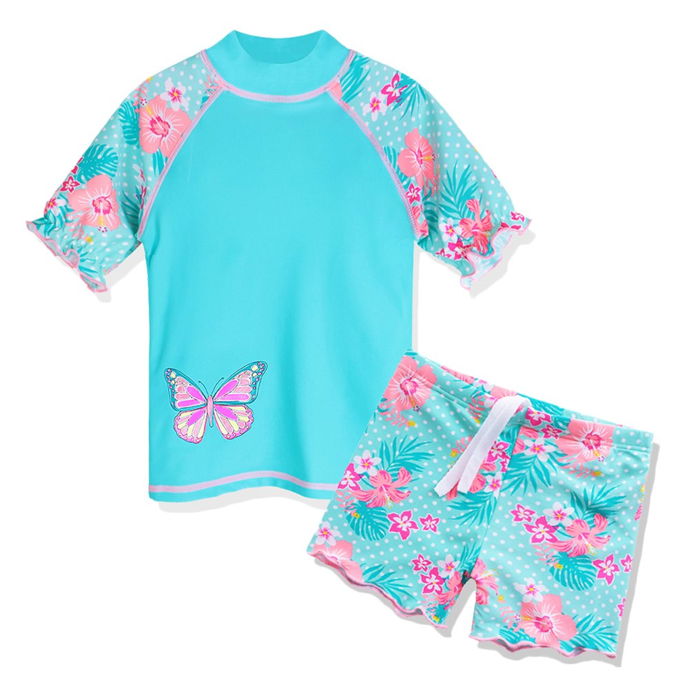 TFJH E Girls Two Piece Butterfly Dots Printed Swimsuit UPF 50+ UV,Cyan Short,7-8Years(Tag No.8A)