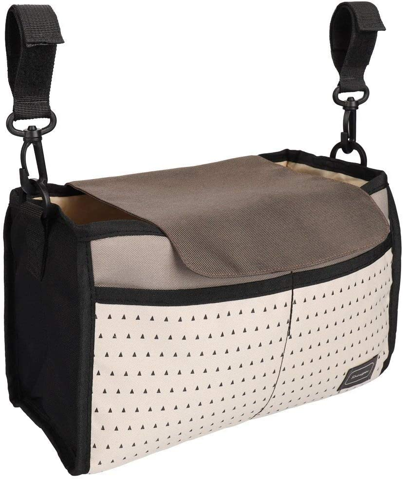 POAO Stroller Organizer Carriage Pram Cart Mummy Infant Nappy Mom Bags Water Bottle Diaper Pocket with Two Cup Holder