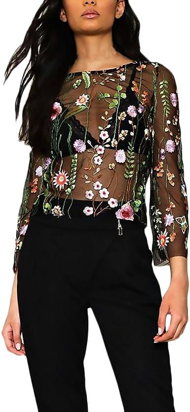 Blusas Mujer Manga Larga Originales Elegantes Chic Camisetas Transparentes Tul Bordadas De Flores Tops Fiesta Dulce Cuello Redondo T Shirt Primavera Verano: Amazon.es: Ropa y accesorios