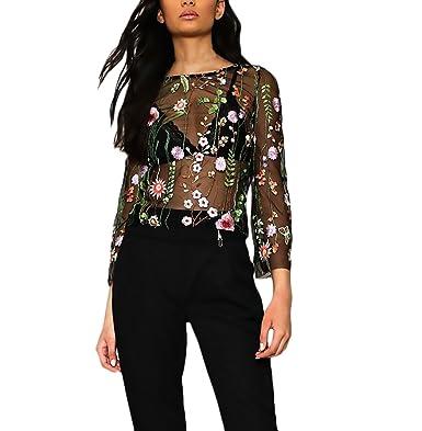 Saoye Fashion Blusas Mujer Manga Larga Originales Elegantes Chic Camisetas Transparentes Tul Bordadas De Flores Tops Fiesta Dulce Cuello Redondo T Shirt ...