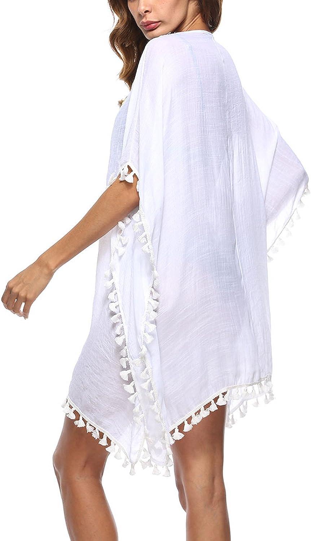 FEOYA Damen Strandponcho Spitzen Strandkleider Bikini Cover Up V-Ausschnitt Strand Rock Kittel Aufdecken Frauen Hemdkleid f/ür Fr/ühling Sommer