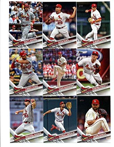 2017 Topps St. Louis Cardinals Complete Master Team Set of 33 Cards (Series 1, 2, Update) with Brandon Moss(#89), Michael Wacha(#99), Alex Reyes(#103), Randal Grichuk(#132), Tommy Pham(#158), Jaime Garcia(#176), Adam Wainwright(#221), Luke Weaver(#234), Matt Adams(#258), Stephen Piscotty(#260), Aledmys Diaz(#293), Zach Duke(#307), Matt Carpenter(#359), Jhonny Peralta(#368), St. Louis Cardinals(#370), Yadier Molina(#373), Trevor Rosenthal(#437), Dexter Fowler(#446), plus more (158 Matt)