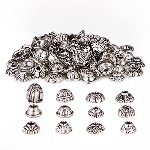 HanYan Bead Caps Metal Spacers Silver 80 grams 6-8 mm 200+ Pcs Mixed Bead Caps for Jewelry Making