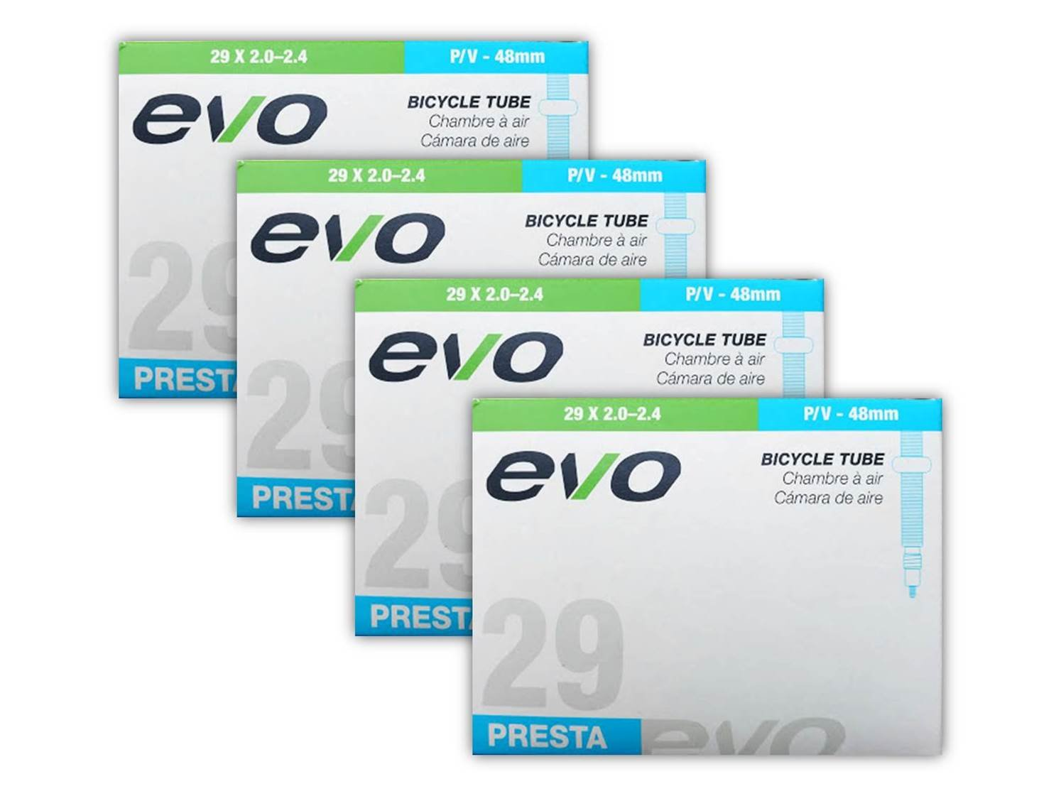 EVO Mountain Bike Tube - 29'' x 2.0/2.4-48mm Threaded Presta Valve (29er) - FOUR (4) PACK