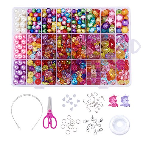 Beadthoven Children DIY Acrylic Beads Sets with 24 Different Types and Shaped Colorful Jewelry Beads and Jewelry Accessories for Kids Necklaces Bracelets Crafts, Great Gift for Kids (#2) by Beadthoven
