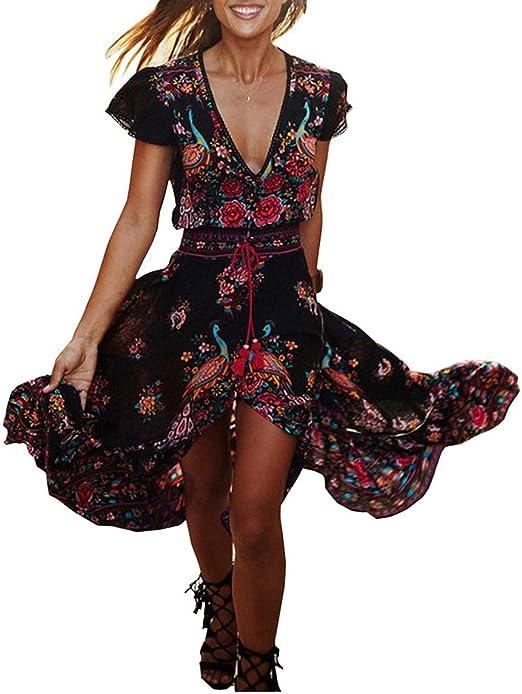 Evedaily Moda Donna Vestito Lungo Vestiti Bohemian con Scollo a V Fondo Asimmetrico e Stampe Floreali