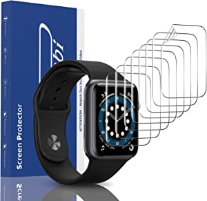 [8 Pack] Panawabi Screen Protector Compatible for Apple Watch 44MM Series 6/5/4/SE, Max Coverage, Flexible TPU Film for iWatch 44MM