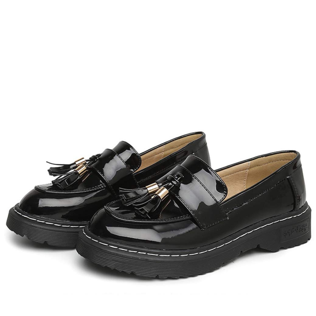 Black DETAIWIN Women Casual Flats Loafers shoes Round Toe Fringe Non Slip Comfort Tassels Patent Leather Oxford shoes