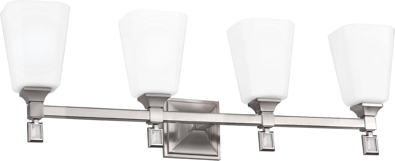 Feiss VS47004-BS Sophie Glass Wall Vanity Bath Lighting, Satin Nickel, 4-Light 31 W x 10 H 400watts