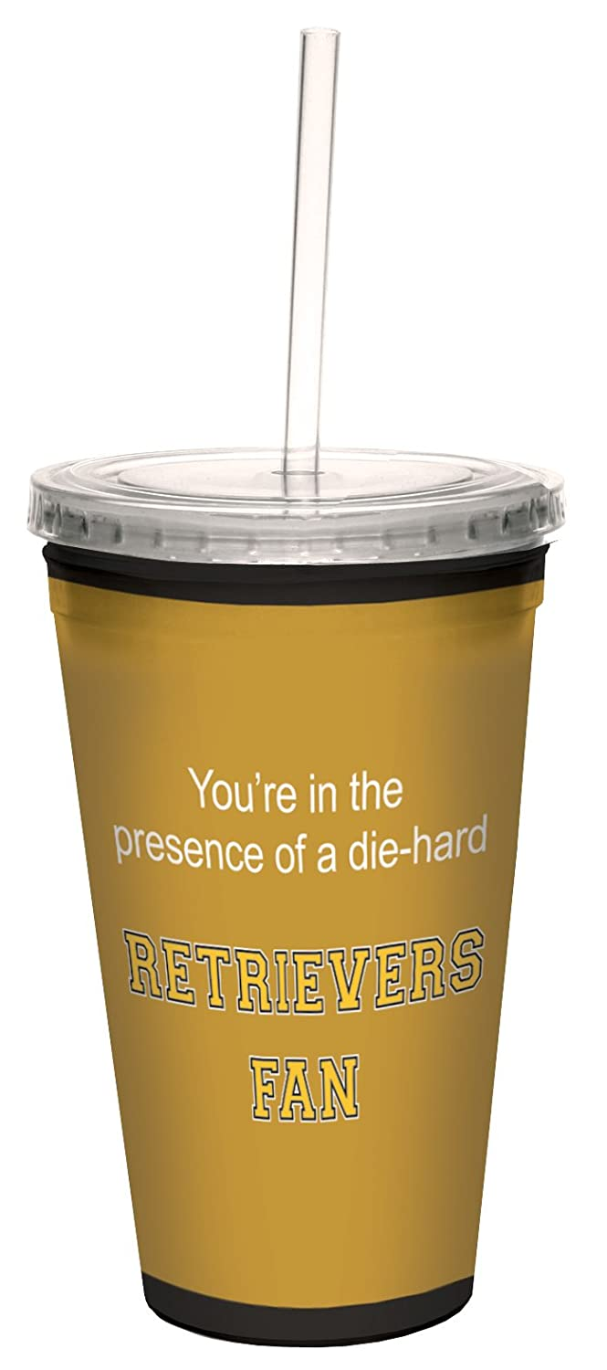 16-Ounce Tree-Free Greetings cc34777 Retrievers College Basketball Artful Traveler Double-Walled Cool Cup with Reusable Straw