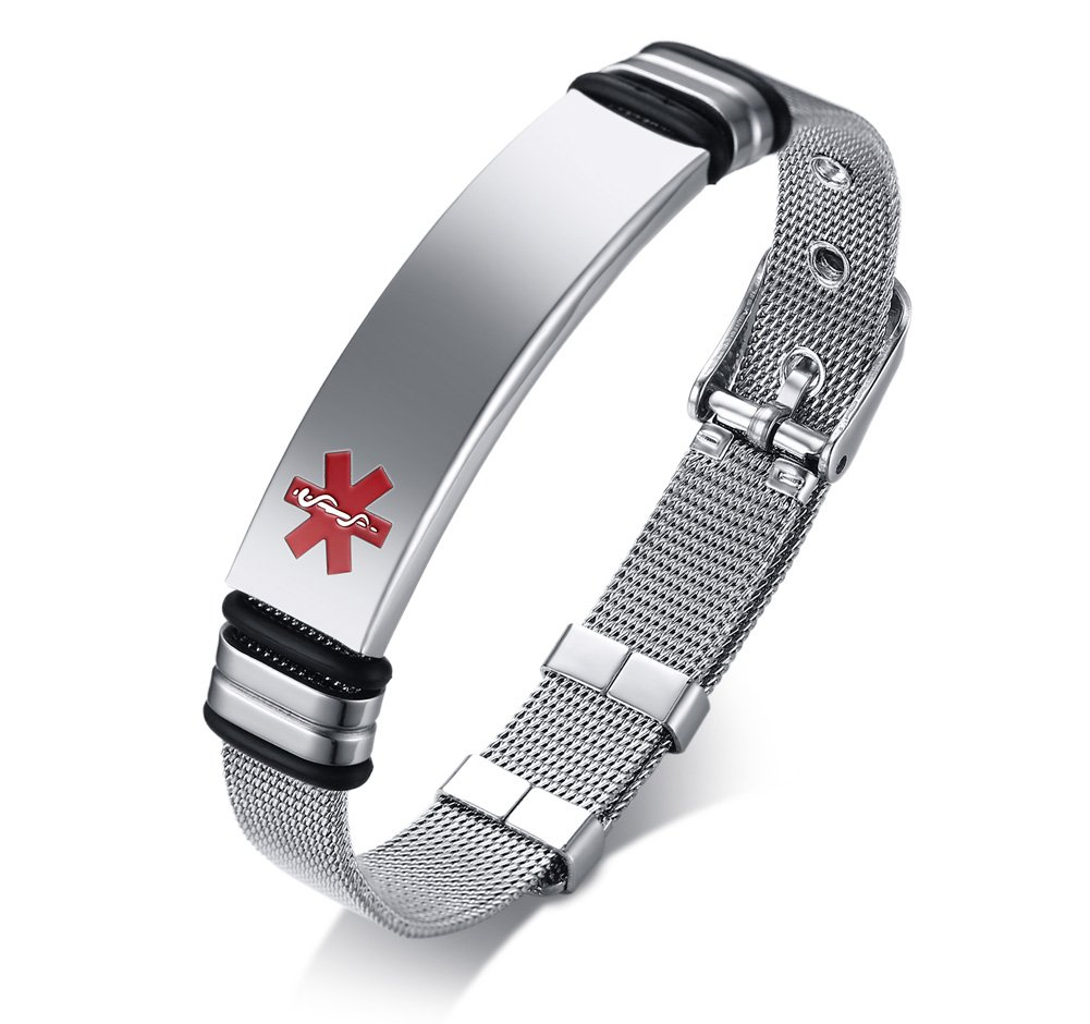 PJ Jewelry Free Engraving-Stainless Steel Mesh Adjustable Medical Alert ID Band Bracelets for Men and Women