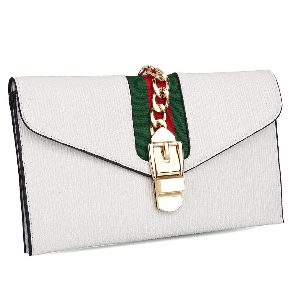 KNUS Designer Wristlet Purse Evening Envelope Clutch Bags Cross Body Bag with Adjustable Strap (White) by KNUS
