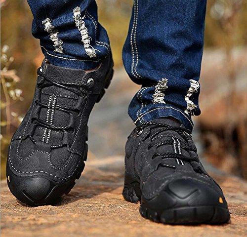 Black punta zapatos genuino de Hombres aire libre 44 antideslizante con deporte redonda al cuero Eu ocasionales zapatos cordones del de senderismo tamaño 38 vdqBSqw