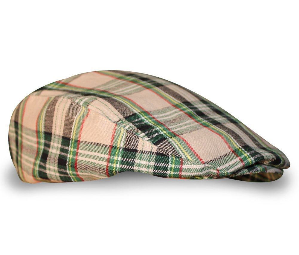 Plaid Flat Golf Cap: 'Par 5' - Khaki Stewart - Ladies by Golf Knickers