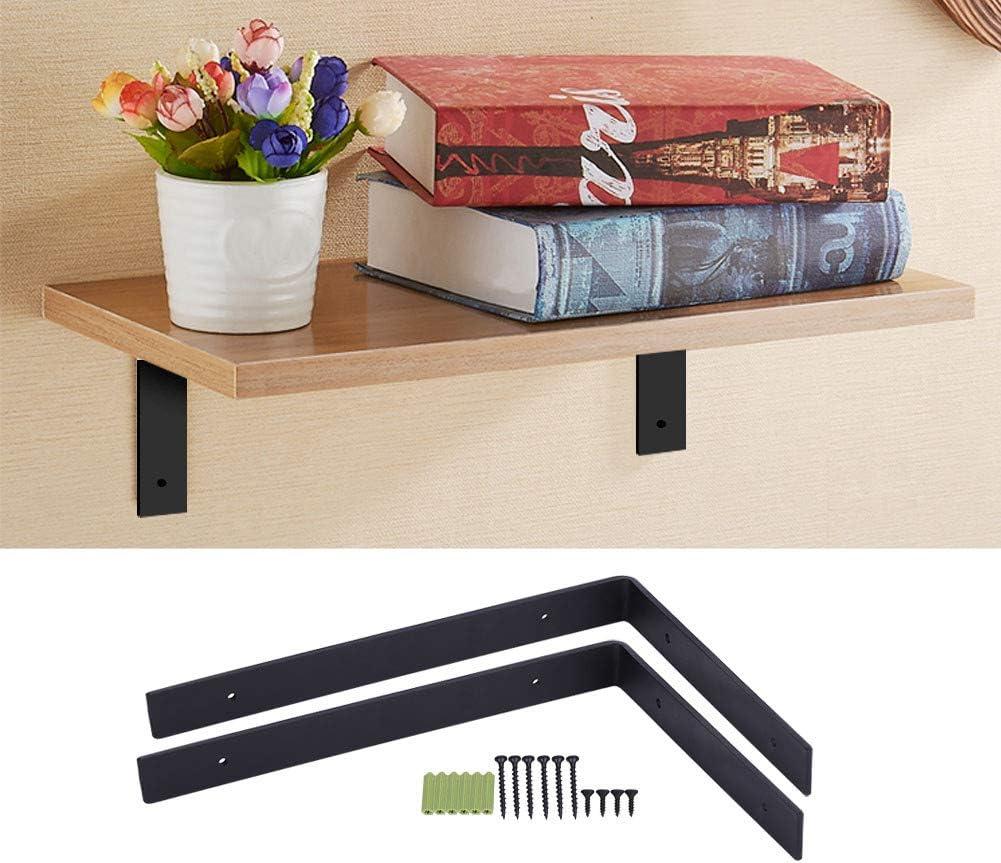 Soporte de estante, 2 soportes de pared resistentes para estante de hierro para colgar en la pared, 295 mm x 205 mm, estante de metal negro para colgar en la pared