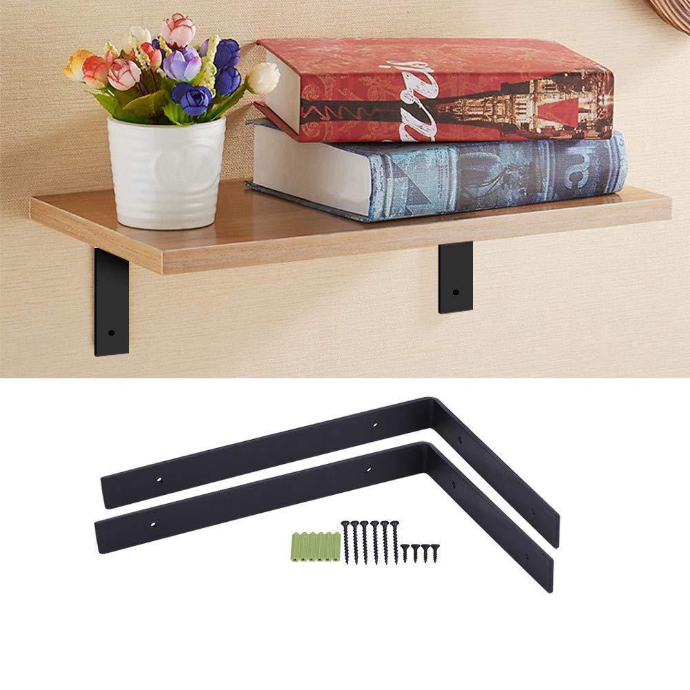 Soporte de estante 295 mm x 205 mm estante de metal negro para colgar en la pared 2 soportes de pared resistentes para estante de hierro para colgar en la pared
