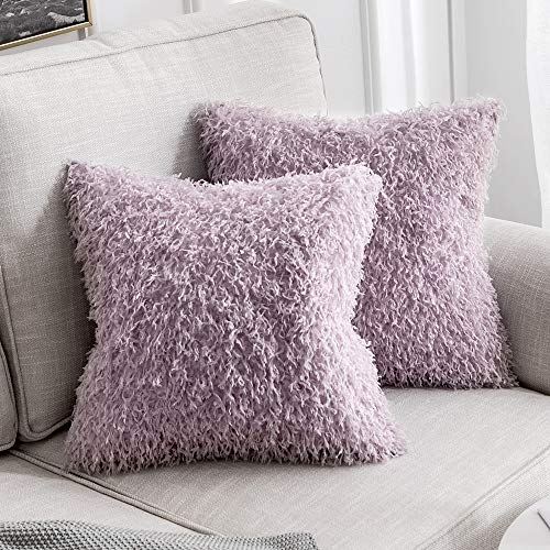 MIULEE Pack of 2 Decorative Purple Faux Fur Throw Pillow Covers Super Soft Faux Feather Pillow Cases Luxious Cushion Covers for Sofa Bedroom 18x18 Inch 45x45 cm ()