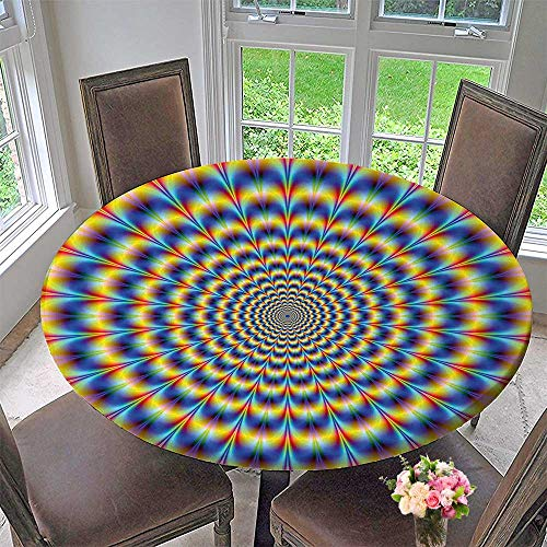 Mikihome The Round Table Cloth Hallucinatory Abstract Hippie Digital Optical Pulse Artisan Design Blue Yellow for Birthday Party, Graduation Party 55