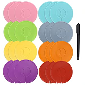 Caydo 24 Pieces 8 Colors Clothing Size Dividers Round Hangers Closet Dividers with Marker Pen