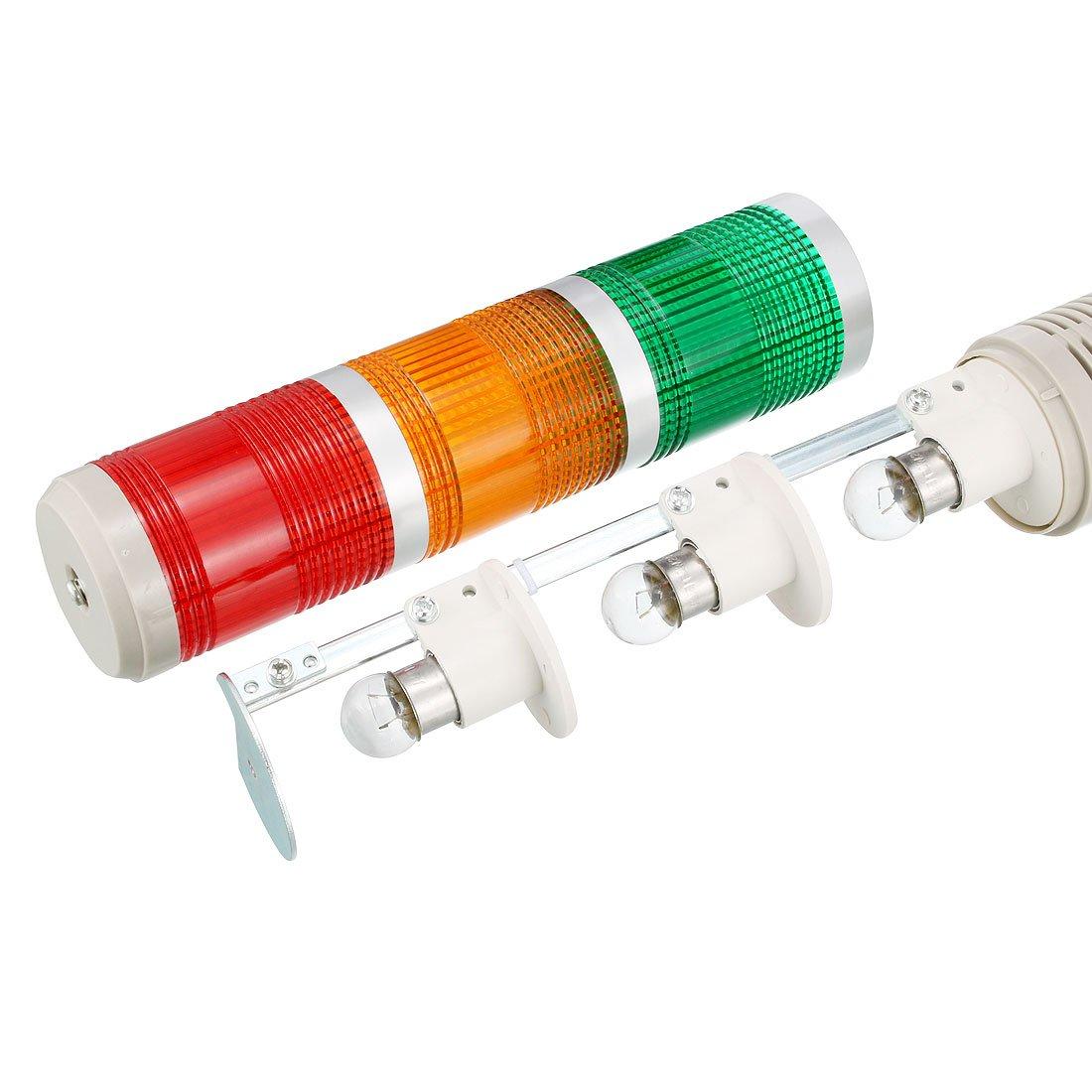 Uxcell Warning Light Bulb Flashing Bright Industrial Signal Alarm 24vdc Buzzer Wiring Diagram Tower Lamp 90dbdc24v Red Green Yellow Tb50 3w E J