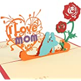 Beautiful 3D Pop Up Greeting Card for Mom, Mother's Birthday and Mother Greeting Card. I Love Mom Card with Envelope.