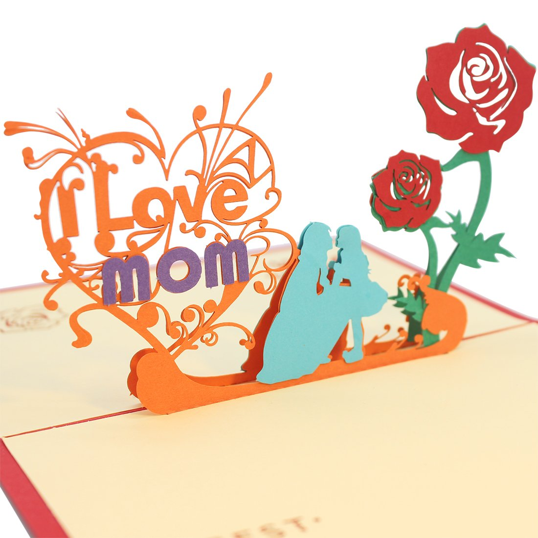 Amazon Beautiful 3D Pop Up Greeting Card For Mom Mothers Birthday And Mother I Love With Envelope Office Products