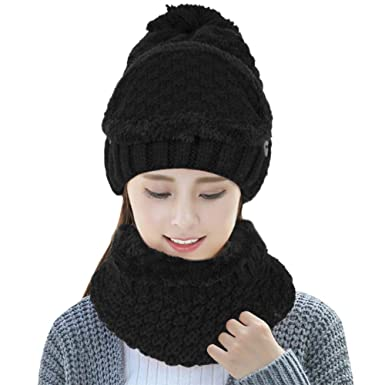 735ddc8a3dc Image Unavailable. Image not available for. Color  DTBG Pom Pom Beanie Hat  Scarf Set with Warm Fleece Lined Girls Cute Winter Ski Thick