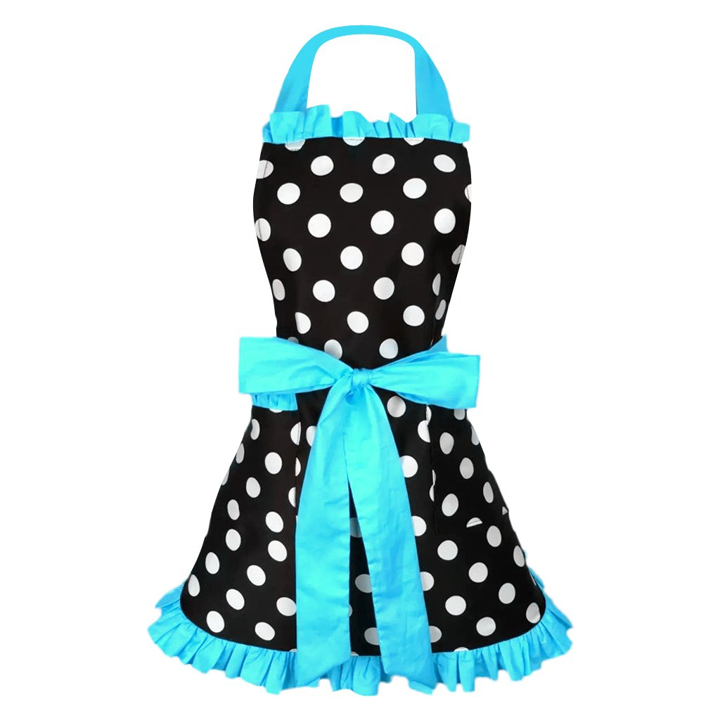 Adjustable Strap Apron Cooking Pricess Women Cotton Apron Bowknot 8 Colors Blue