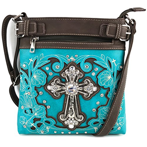 Justin West Embroidery Floral Glitter Bling Rhinestone Cross Shoulder Concealed Carry Handbag Purse Trifold Wallet (Turquoise Messenger ONLY)