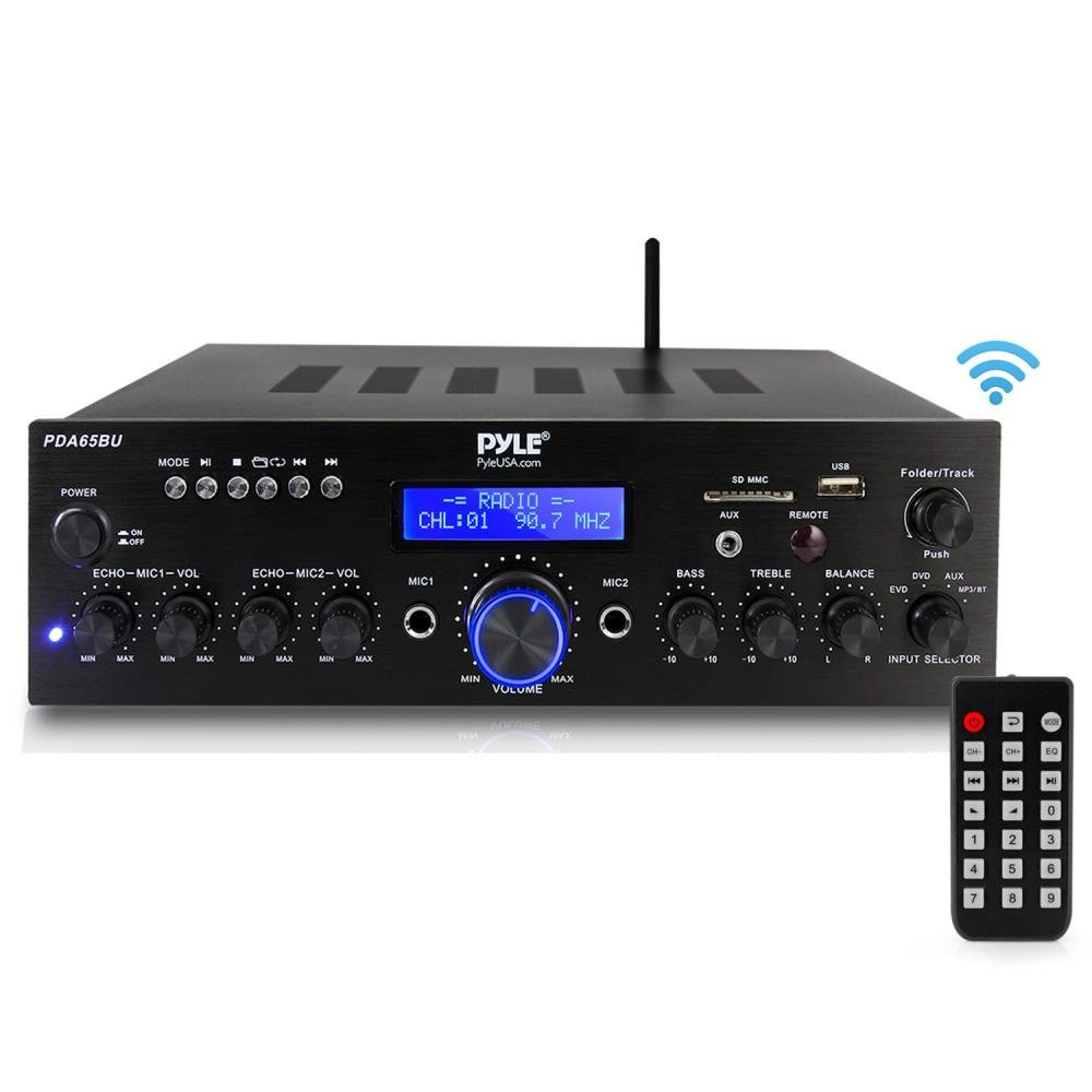Pyle PDA65BU Amplifier Receiver Stereo, Bluetooth, FM Radio, USB Flash Reader, Aux Input LCD Display, 200 Watt with Dual LU47PB Indoor/Outdoor Speakers Bundle with Enrock 50ft 16g Speaker Wire by EnrockAudioBundle (Image #2)