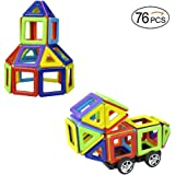 MarlaMall Magnetic Building Blocks Set, 76 Pieces Set Kids Magnet Construction Toys for Creativity Educational Instruction Booklet and Storage Bag Kids Over 3 Years Old