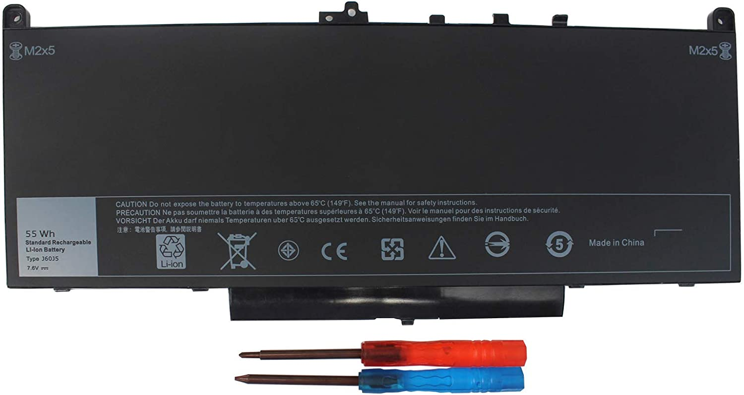 BE•SELL J60J5 7.6V 55WH Laptop Battery Replacement for Dell Latitude E7270 P26S001 E7470 P61G001 Series Notebook R1V85 451-BBSX 451-BBSY 451-BBSU MC34Y 242WD PDNM2 1W2Y2 GG4FM 4Cell