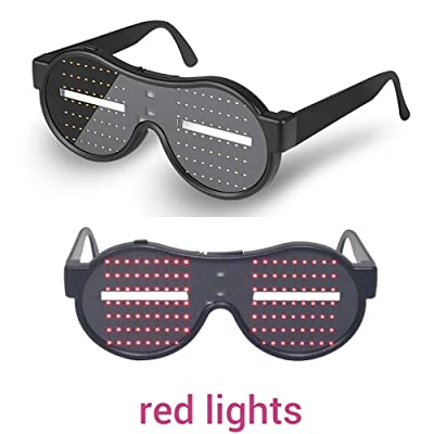 AINSKO Light Up Eyeglasses Flashing Shutter Neon Glowing Glasses Multicolor LED Luminous Glasses with Party Christmas Birthday Red: Toys & Games