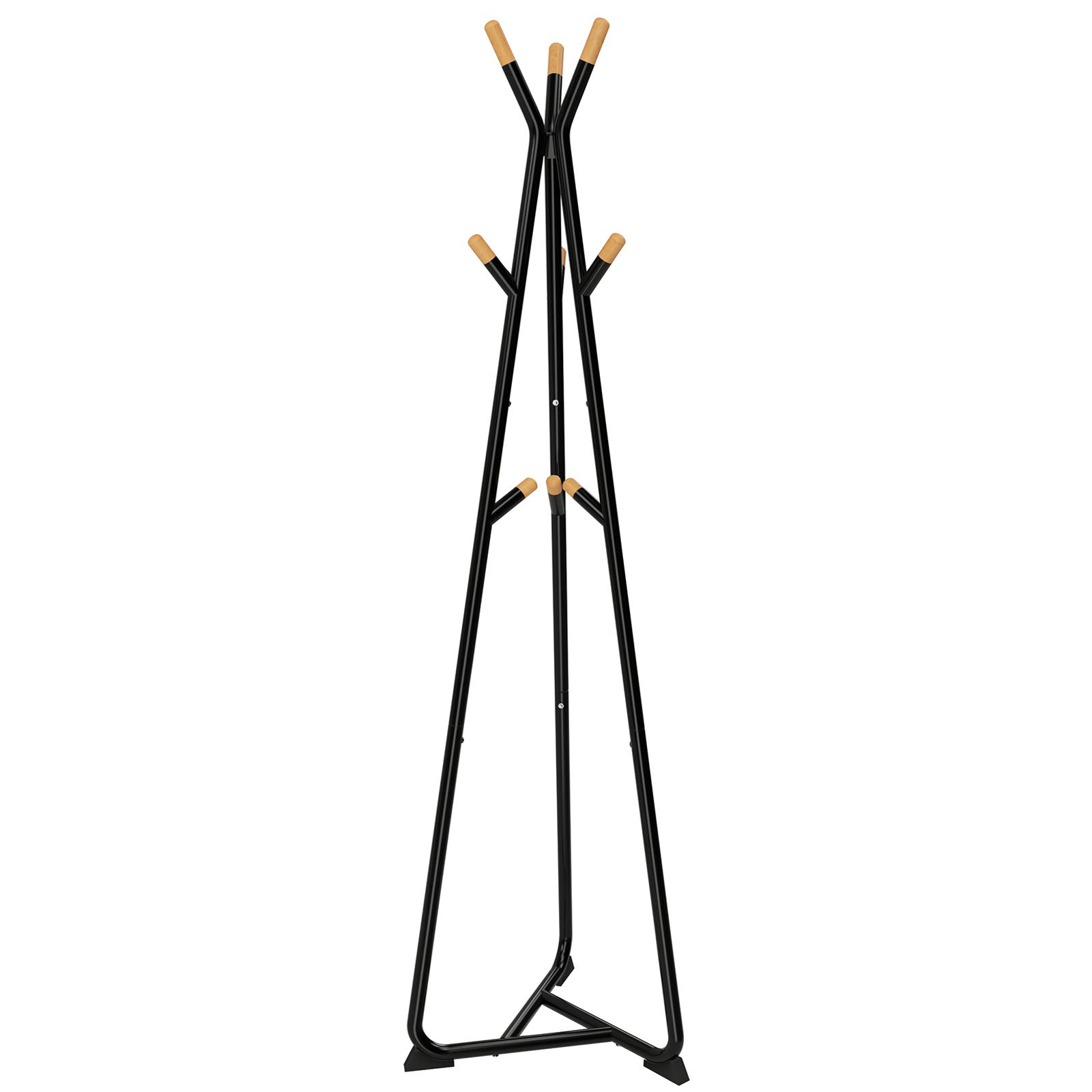 SONGMICS Coat Rack Stand, Coat Tree, Hall Tree Free Standing, with 9 Beech Wood Hooks, for Clothes, Hat, Bag, Black, Natural Grain URCR15BY by SONGMICS