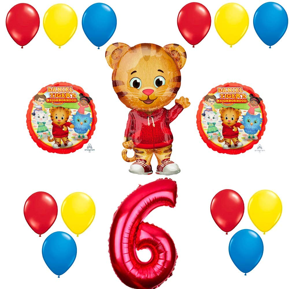 CuteTrees Daniel Tiger 6th Birthday Balloons Supplies Decorations And Super Hero Costume Cape