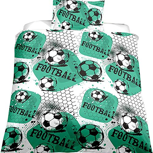 VAMIX Ball Game Print 3D Oil Boys Duvet Cover Sets Twin World Cup Soccer Ball Bedding Sets Boys Men's Football Print Duvet Cover Sets(EU Twin Size Color 11)