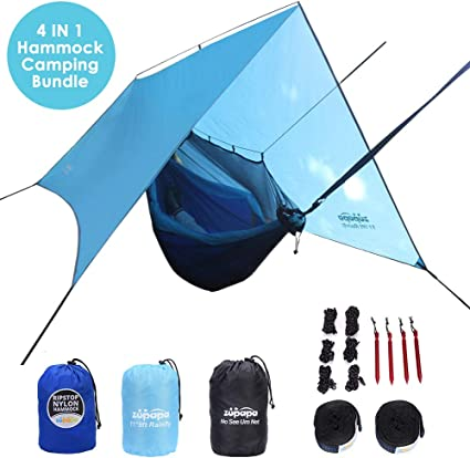and More Perfect for Camping 10 x 10 Black or Gray Everest Explorer Hammock Rain Fly Waterproof Outdoor Hammock Tarp Survival Gear Hiking Ripstop Nylon Cover Stakes and Rope Included