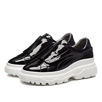 1df29d2219 GAOLIXIA Zapatillas de deporte de cuero para mujer de las señoras Zapatos  planos gruesos con velcro ...